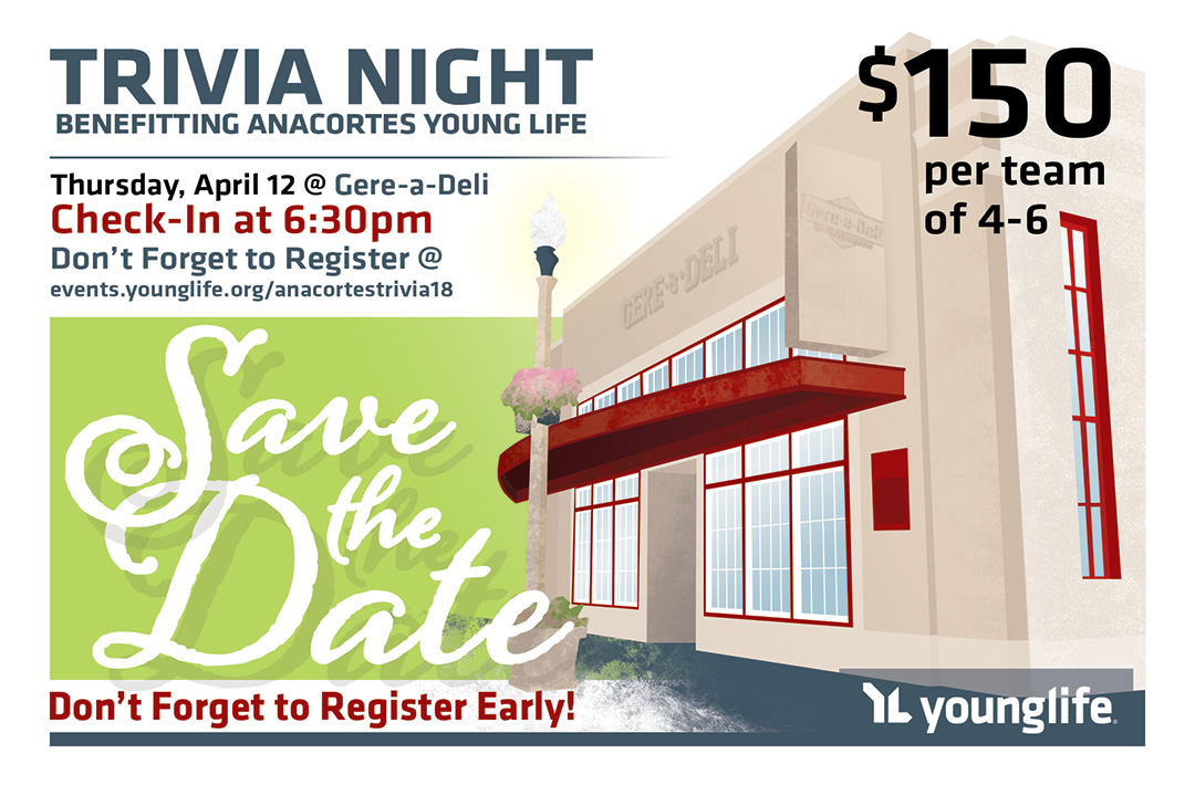 Young Life - Anacortes - Trivia Night Save the Date Card