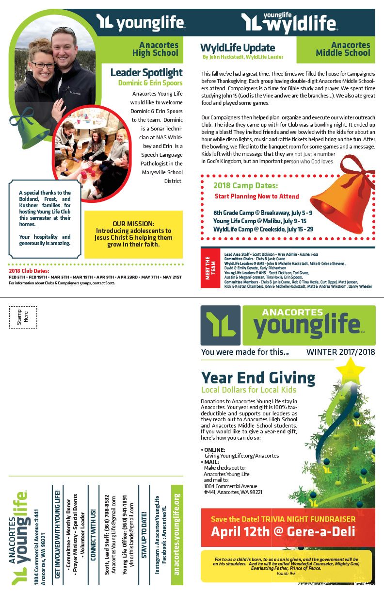 Young Life - Anacortes - Winter 2017-18 Newsletter